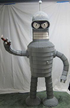 6-foot-tall Bender liquor cabinet made of 20,000 LEGO bricks