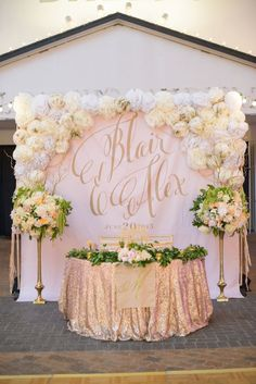 Sweetheart Table Backdrop with Large Gold Calligraphy Monogram