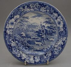 Antique-Pottery-Pearlware-Blue-Transfer-Gamekeeper-Pattern-Small-Plate-1825/$61