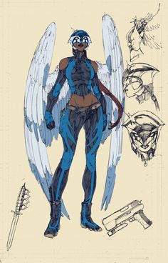 Earth 2 Hawkgirl sketch for the New 52.