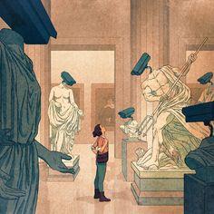 When the Art Is Watching You | WSJ Statues, Street Art, Wall Street, Art Articles, Illustration Vector, Digital Museum, Electronic Art, Art Direction, Art Museum