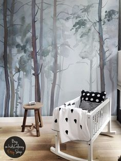 Nature Forest wall mural Peel and stick Gloomy Trees wallpaper Watercolor wallpaper Kids room wall mural Baby Nursery wallpaper # 5 Baby Nursery Wallpaper, Kids Room Wallpaper, Wallpaper Shops, Mint Wallpaper, Kids Room Murals, Nursery Murals, Kids Rooms, Tree Wall Murals, Nursery Themes