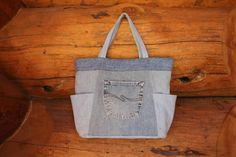 Denim tote bag denim bag denim handbag denim by SewManyScraps