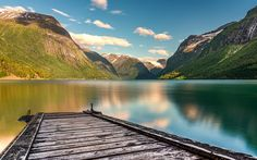 Download wallpapers mountain lake, morning, pier, mountains, Norway, peace of mind concepts