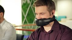Muzzle Chatty Colleagues With Hushme Headset   The growing trend toward open-plan offices exposes employees to colleagues emphatic typing snack munching and booming phone conversations.  But this high-tech muzzle could be the solution to one of those irritants.  Hushme the worlds first voice mask for mobile phones is a personal acoustic device that protects speech privacy in open-space environments.  Hushme  Simply insert the attached Bluetooth earbuds close the device around your face and…