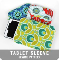 """Free tutorial - Make a snug zippered tablet case for your 7"""" tablet. It's fully lined and so easy! #diy #sewing"""