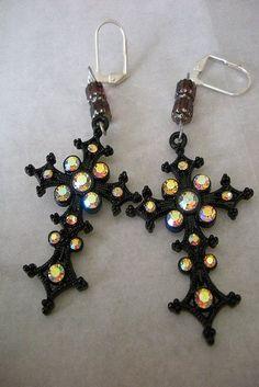 Black Cross Earrings by Abyssal Gems, via Flickr