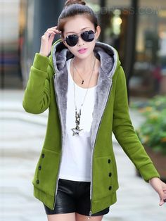 Plus Velvet Hooded Cotton Coat 2