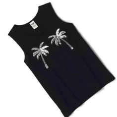 VS PINK Campus Tank VS PINK black campus tank with two silver sequin palm trees on the front. Top runs oversized and on the longer side.  XS but probably could fit a small depending on how you like the fit.  Brand new with tags! •No Damages•No Trades• PINK Victoria's Secret Tops Tank Tops