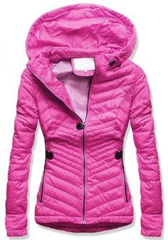 Dámska prešívaná bunda s kapucňou W612 ružová