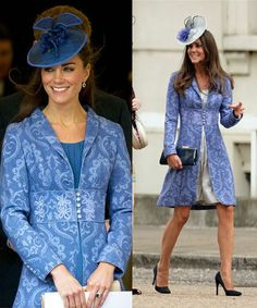 Kate Middleton Princess Style Blue Jacquard Coat/Jacket SZ S,M,L Brand New