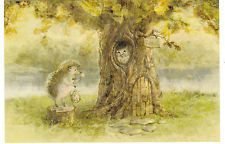 RARE Hedgehog came to visit the Owl Russian modern postcard by Egorenkova