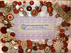 Valentine button frame from All Buttoned up By Tina on etsy.com