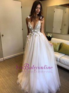 A-line V-neck Tulle Wedding Dresses | Spaghetti Straps Beading Bridal Gowns_Wholesale Wedding Dresses, Lace Prom Dresses, Long Formal Dresses, Affordable Prom Dresses - High Quality Wedding Dresses - Yesbabyonline.com