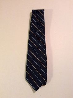 Vintage 1960s Wembley Jacqaurd Stripe Blue Men's Neck Tie #Wembley #NeckTie