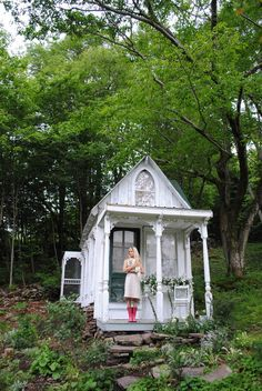 She Shed: What it is and how you can make one - TODAY.com - Cute white She Shed with a country cottage flair.