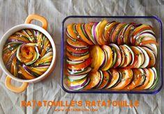 ratatouille. Onderin de ovenschaal een saus doen met gezeefde tomaat, prov.kruiden(peterselie/tijm/bieslook)pezo/knoflook/ui/paprika(liefst ontveld/gezeefd) en ev gehakt. Daar bovenop: aubergine, courgette, tomaat, rode ui (aardappel) en kruiden. Ong 20-30 minuten bakken op 175 graden. Lekker om gebakken aardappelpartjes en gehakt of kip erin te verwerken