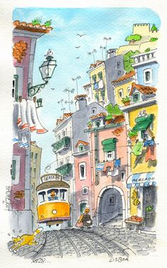 Lisbonne tramway jaune petits rues d'Alfama, idée dessin en perspective, de… Lisbon yellow tram small streets of Alfama, idea drawing in perspective, drawing of beautiful landscape of narrow street Watercolor Sketch, Watercolor Illustration, Watercolour Painting, Painting Art, Watercolor Architecture, Watercolor Landscape, Art Sketches, Art Drawings, Art Du Croquis