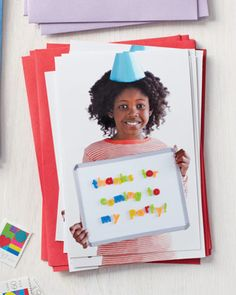 "Kids' Alphabet Magnet Thank-You Card    Want to inspire your kid to write thank-you notes? Put her on the card. Have your child hold a magnetic board with alphabet magnets that spell out ""Thanks for coming to my party."" She can write a personalized note on the back of each picture."