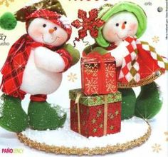 muecos de nieve con regalos tela