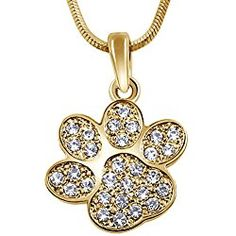 "Adorable Gold Tone Animal Puppy Dog Paw Print 3/4"" Crystal Charm Necklace for Girls, Teens and Women"