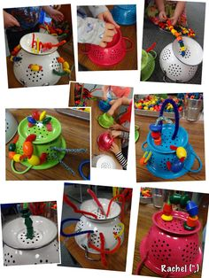 "Fine-motor fun with pipe-cleaners, beads and colanders on the Finger Gym - from Rachel ("",)"