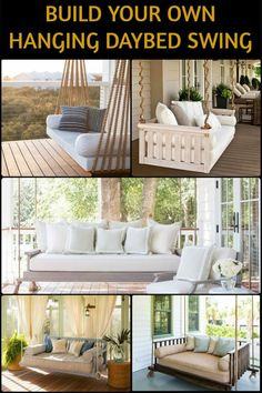 Get Your Much Needed Afternoon Nap or Reading by Building Your Own Hanging Daybed! Outdoor Sofa, Outdoor Spaces, Outdoor Living, Outdoor Ideas, Diy Furniture, Outdoor Furniture Sets, Backyard Swings, Porch Swings, Backyard Patio