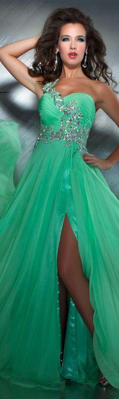 Mac Duggal couture dress key lime #oneshoulder #long #formal #dress #green MAC DUGGAL PROM STYLE 64412M
