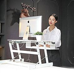 ERGONEER Latest Model Adjustable Ergonomic Sit to Stand Desk Riser w/ Easy Lift Up/Push Down Squeeze Levers | Newly Developed Standing Desk Sit Stand Workstation for Healthy Work Posture (Black)