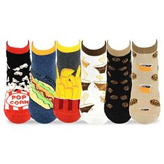 TeeHee Women's Foods No Show Socks 6-Pack (Coffee and Foods)