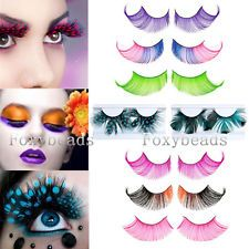7abc6209ec8 Pink Feather Handmade Long Fancy Party False Feather Eyelashes Makeup Eye  Lash | eBay