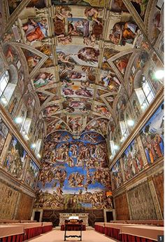 미켈란젤로  [시스티나 예배당 천장화]  바티칸 궁전에 위치한 이 천장화는 걸작 중 걸작이다. 4년동안 천장에 매달려 작품에만 전념했을 미켈란젤로의 투지는 작품에의 열의때문만일까? 미켈란젤로는 라파엘로와의 라이벌 구도를 형성하였다. 교황 율리오 2세의 무덤 조형물 사업이 중단된 후 시스티나 예배당 천장에 벽화를 그려넣으라는 주문을 받은 후 거절하였으나 결국 라파엘로가 이 일을 맡을까 일종의 오기가 발동하여 대작을 완성한 것으로 보인다. 미켈란젤로의 신앙심, 작품에 대한 열의 뿐 아니라 라파엘로에게 지지 않기 위한 마음 역시 걸작을 만들어낸 요인이다. 이 작품을 볼 때에는 따라서 작가의 오기라는 관점을 무시할 수 없다.