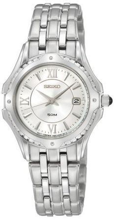 Seiko Women's SXDC35 Le Grand Sport White Dial Watch Seiko. $106.84. Hardlex crystal. 3 hands. Cabochon crown. Deployment clasp with push button release. Water-resistant to 165 feet (50 M). Save 63%!