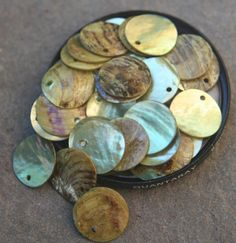 Fifty plus green shell disks by debsdesigns401 on Etsy