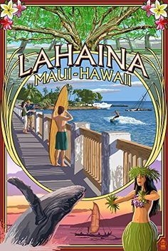 Lahaina Maui Hawaii - Town Scenes Montage (12x18 Art Print Wall Decor Travel Poster)