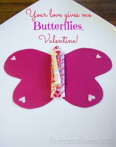"""#DIY Valentine's Day Butterfly Treat Valentine - great for friends/family """"Your Love Gives Me Butterflies, Valentine!"""""""