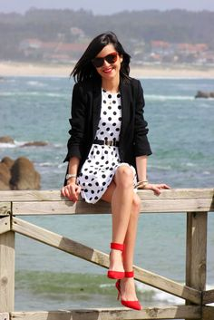 Black and white dots + red!
