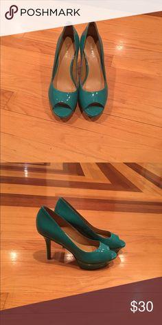 Nine West heels Aqua green heels. Never worn outside. Pre-owned. Nine West Shoes Heels