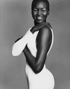 """Alek Wek. Her presence had a huge impact on the perception of beauty in the fashion model industry. She is from the Dinka ethnic group in South Sudan, but in 1991 she and some family members fled to Britain to escape the civil war in Sudan. She later moved to the United States. """"I have no problem with whatever the next big look is. Just don't try and tell me that only one look is beautiful."""" Alek Wek Black Is Beautiful, Beautiful People, Beautiful Women, Beautiful Smile, Stunningly Beautiful, Beautiful Models, Black Girls Rock, Black Girl Magic, Lauren Hutton"""
