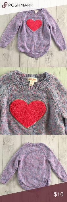 Cat & Jack heart sweater Purple and pink sweater with fuzzy heart by Cat & Jack. Like new condition size 3T.   All items in my closet are buy 2 get 1 free. Cat & Jack Shirts & Tops