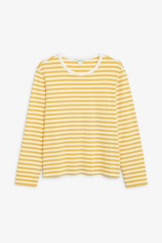 Soft long-sleeved top - Yellow and white stripes - Tops - Monki SE Blue Tops, White Tops, Yellow Long Sleeve Tops, Yellow Clothes, Light Blue Jeans, Yellow Shirts, Yellow Top, Golden Yellow, Basic Tops