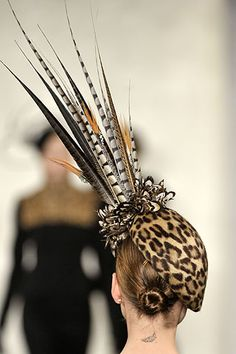 Rear view! Leopard beret with pheasant feathers. Ralph Lauren A/W 2008