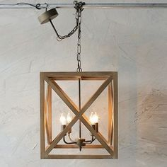 Wood and Metal Square Chandelier $160 Antique Farm House