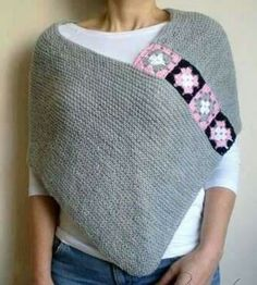 Light Gray Poncho with Afghan Motifs, Women Capelet Shawl : Nice! Garter stitch rectangle and crocheted granny squares for attaching… Light Grey Afghan Boho… Grey Poncho, Poncho Shawl, Crochet Poncho, Knitted Shawls, Crochet Granny, Diy Crochet, Granny Square Poncho, Sunburst Granny Square, Crochet Squares Afghan