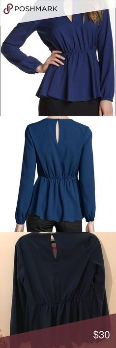 Rachel Zoe key hole blouse Perfect condition navy blouse worn once Rachel Zoe Tops Blouses