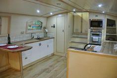 Beautiful Luxury Widebeam 70'x12' boat Water House, Boat House, Dutch Barge, Canal Boat Interior, Barge Interior, Microwave Shelf, Narrowboat, Luxury Yachts, Shelf Design