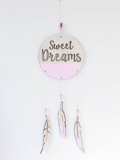 Sweet Dreams Dream Catcher with feathers and beads laser cut Sweet Dreams Mobile Painted wooden feathers children's  baby nursery wall decor by MoonSnailCreations1 on Etsy