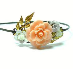 Floral Bouquet Antique Brass Collage Headband by LisamariesPiece