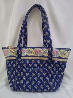 Vera Bradley Retired Maison Blue Purse Handbag Tote Yellow Floral Shoulder  Bag  VeraBradley  ShoulderBag d5ce54edf900b