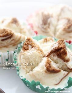 Steamed Cake (Bolu Kukus)  // 300g AP flour, 300g sugar, 3 egg yolks, 2 egg whites, 1 can of sprite (330 ml), 2 t emulsifier, 1 t vanilla powder, Mocha flavor food coloring.